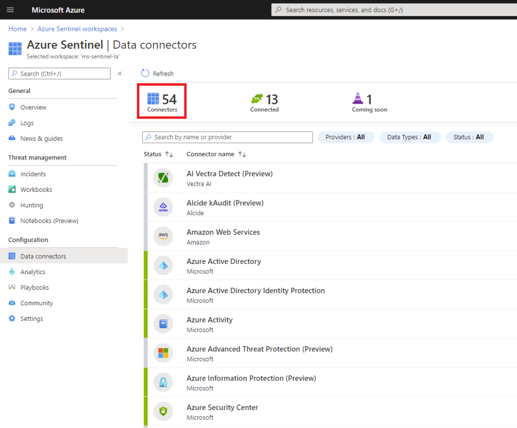Azure Sentinel Data Connectors